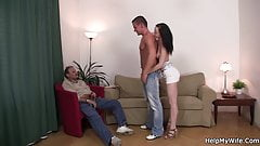 Old man sharing young brunette wife