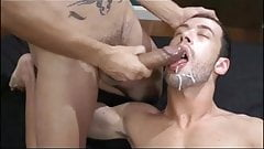 dude gets fucked then cums on buddys big cock PLUS