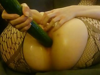 Kitty fuck her tight ass with giant cucumber 2