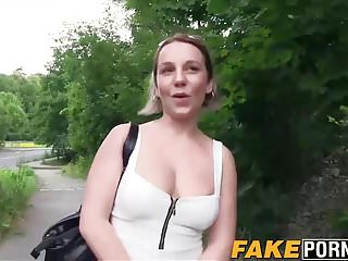 Horny big boobs Sandy Blue rides cock outdoor for money