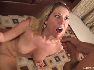 Teen Alysha Rylle gives blowjob her first BBC