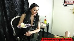 German BDSM Domina and her Slave EAT - latex femdom session