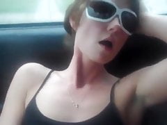 Afterparty orgasm in car with her dildo