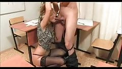Black Stocking MILF rides her Student