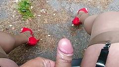 Crossdresser masturbate outdoor in nude stocking and heels