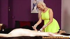 Toy loving domina humiliates naked guy