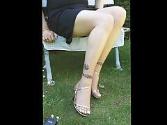 my fine pantyhose naturel in my garden  gold sandals
