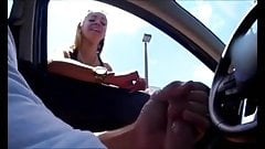 Perfect blonde sees how a man masturbates in his car