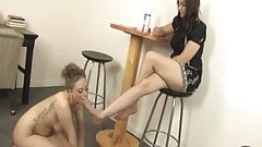 Lyla licks cream off Mistress Eve's foot - foot worship