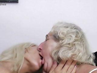 Old grandma fucks young lesbian girl