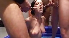 german guys piss on a girl in a inflatable pool