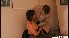 Hairy French mature sodomized by her boss