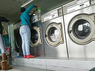 Laundromat Creep Shots  Sluts With Round Asses And No Bra