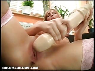 Russian amateur beats her pussy raw with a giant dildo