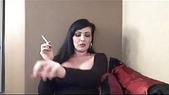 Hot mature cougar smoking and jerking