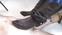 cowgirl boots give a rough boot job with spurs!