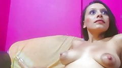 Young MILF with big milky areolas on cam
