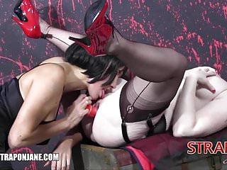 Strapon Jane fucks gorgeous curvy redhead babes wet pussy