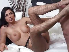 Italian pornstar Sofia Gucci facing a group of cocks