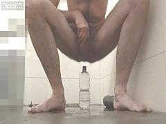 Huge 8 cm PET water bottle deep in my Ass