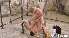Submissive young man gets ass played by dildo and cock