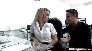 Big boobs blonde plays office slut