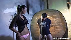 Tall domina flogging restrained slave
