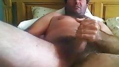 Daddy's big hairy dick shoots big load