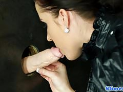Cum drenched gloryhole euro toying pussy