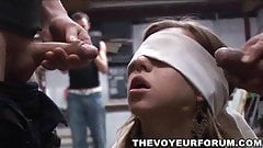 Blindfolded teen babe sucks two cocks and gets fucked