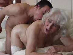 Old grandmother gets private visit into hairy cunt
