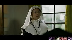 Teenage nun eaten out by busty babe