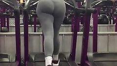 Gray Spandex On Treadmill