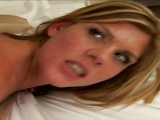 Horny stud creams blonde babe's butt after a hard fuck