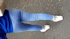 Walking Teen in her jeans