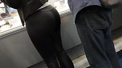 Huge ass tight black leggings round booty