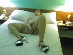 Aunt Sue anal masterbation wearing stripper heels