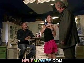 Husband watching a guy bangs his young wife