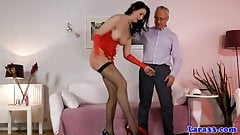 Mature office slut josephine james squeezes toy between abuse