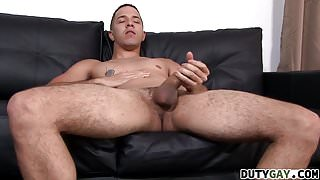 Diego plays with horny dick