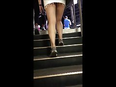 Candid sexy teen tight skirt