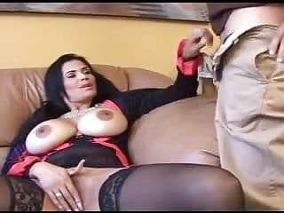 Big boobs long nails beauty in action