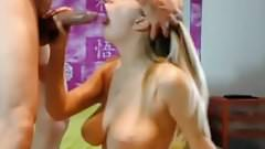 Blond big naturat boobs tits sucking big cock