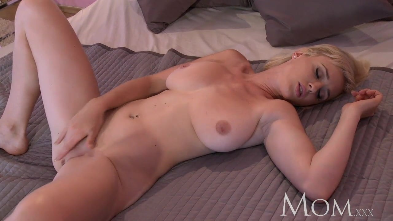 MOM Blonde bombshell teases to camera then has an orgasm