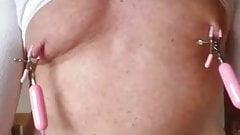 man using nipple clamp vibrator