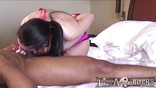 Small white bitch gags on big black cock