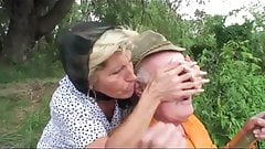 Grandpa fucks busty teen and mom by the lake