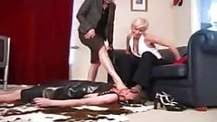 2 British girls - feet on slave
