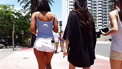 Candid voyeur hot fine asian girl in cheeky shorts