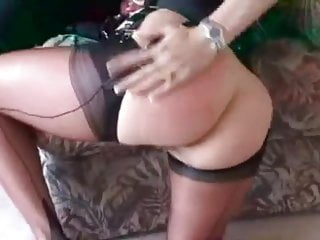 Mature hotwife in FF stockings sucks off lucky young guy